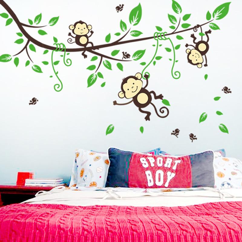 מדבקת קיר קופים על ענף