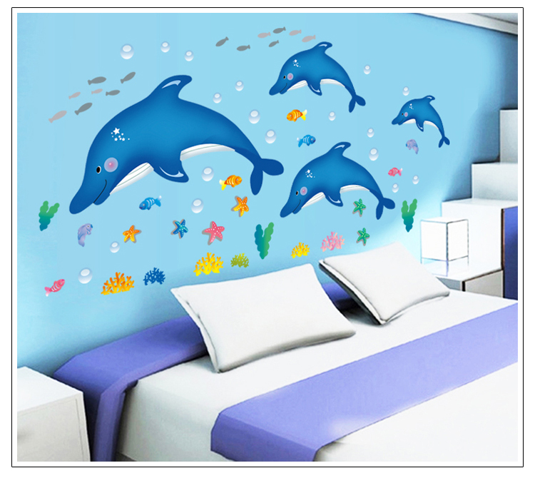 מדבקת קיר דולפינים