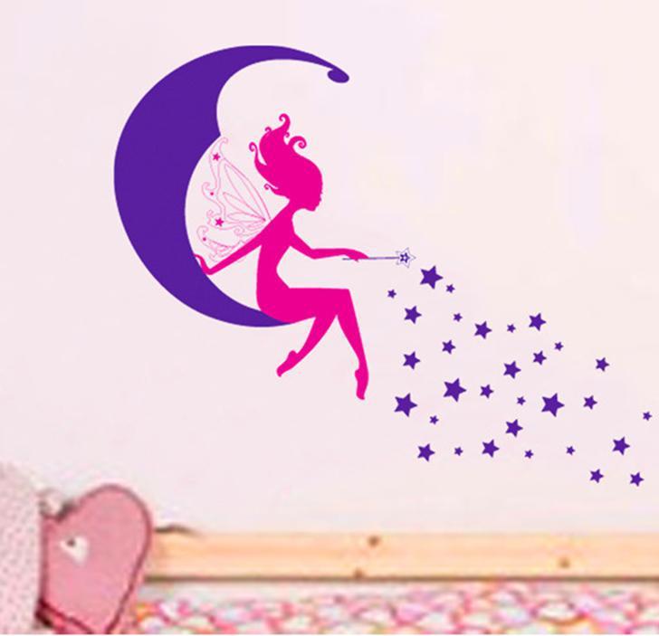 מדבקת קיר פיה על ירח וכוכבים
