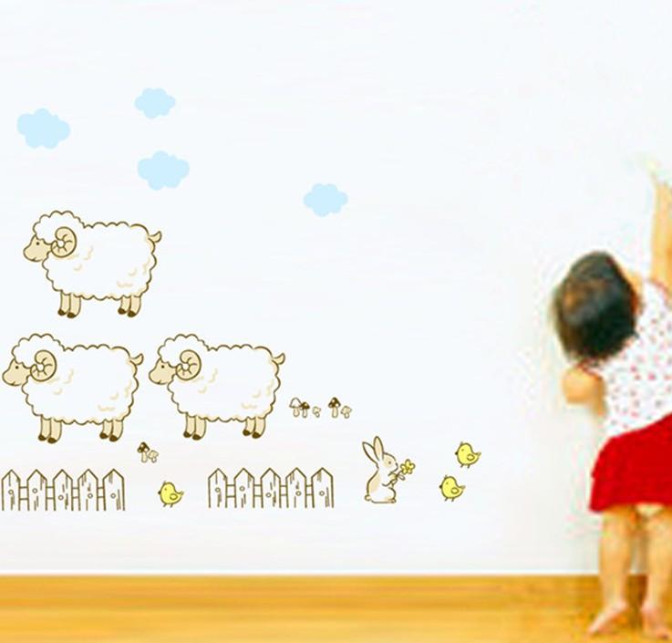 מדבקת קיר כבשים