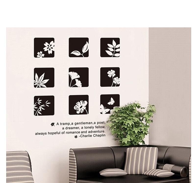 מדבקת קיר קוביות פרחים בסגנון סיני