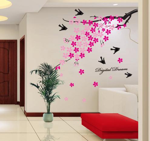 מדבקת קיר ענף עם פרחים ורודים וציפורים