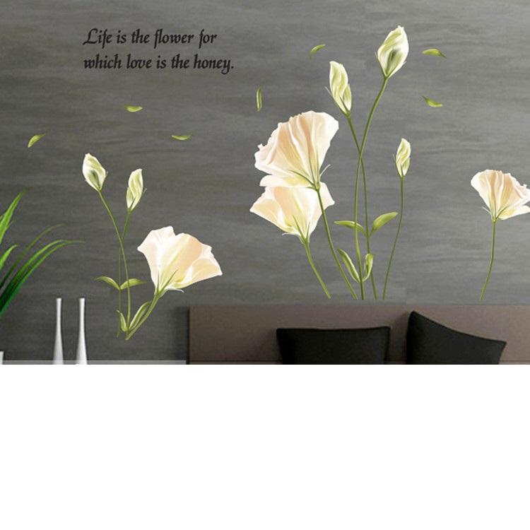 מדבקת קיר פרחים לבנים