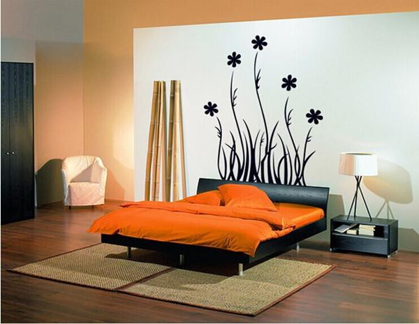מדבקת קיר פרחים שחורים