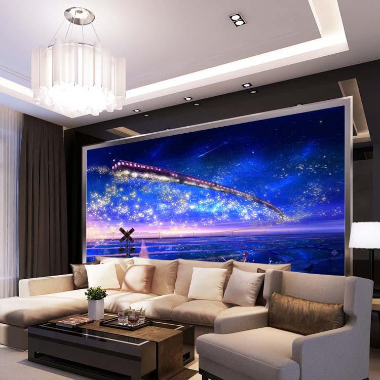 תמונת טפט רכבת בשמיי לילה תלת מימד