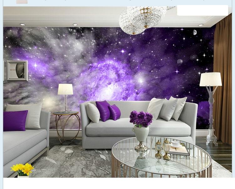 תמונת טפט שמיים סגולים וכוכבים תלת מימד