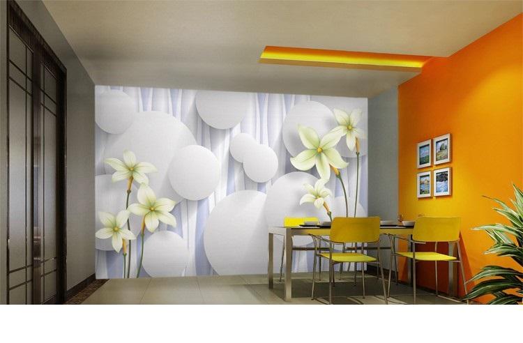 תמונת טפט פרחים לבנים תלת מימד