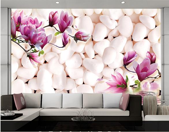 תמונת טפט חלוקי נחל ופרחים תלת מימד