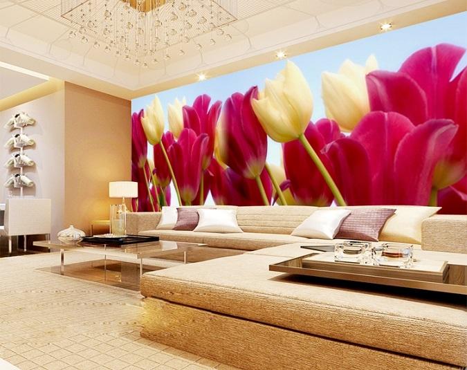 תמונת טפט פרחים ורודים וצהובים תלת מימד