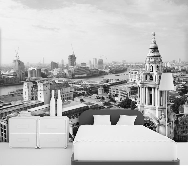 תמונת טפט לונדון בשחור לבן תלת מימד