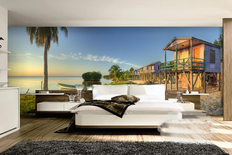 תמונת טפט בית על הים תלת מימד