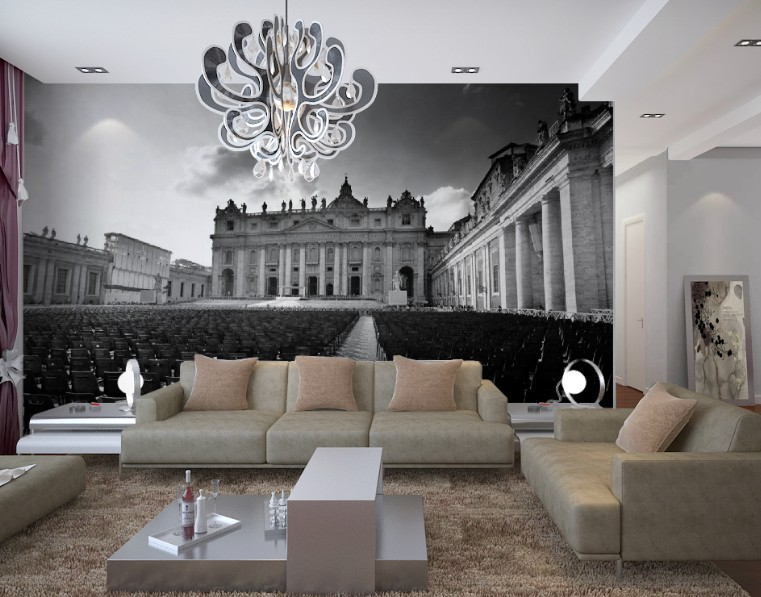 תמונת טפט תאטרון רומאי בשחור לבן תלת מימד