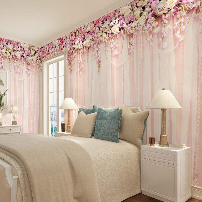 תמונת טפט וילון פרחים תלת מימד