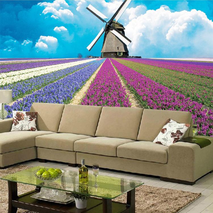 תמונת טפט תחנת רוח בשדה פרחים תלת מימד