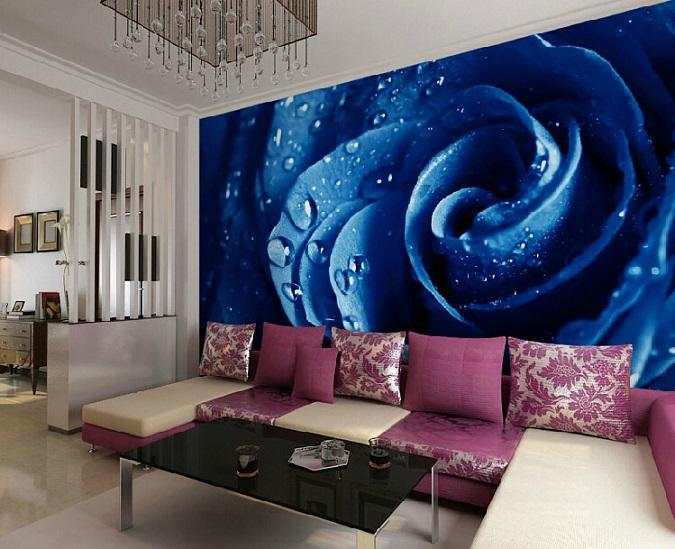 תמונת טפט פרח כחול גדול תלת מימד