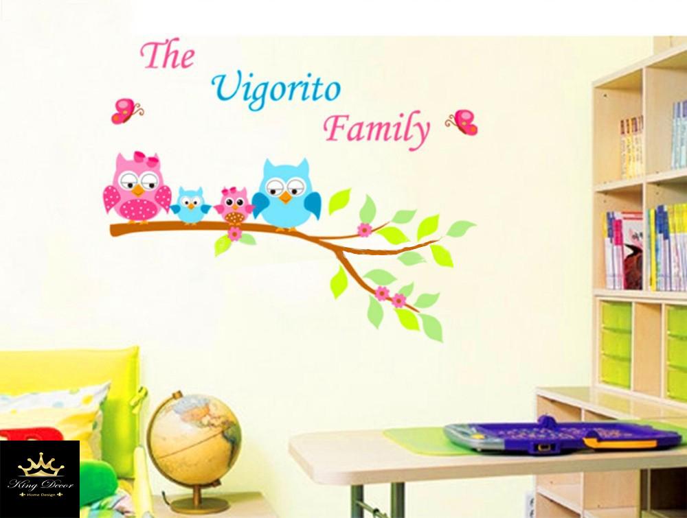 מדבקת קיר ינשופים צבעונים