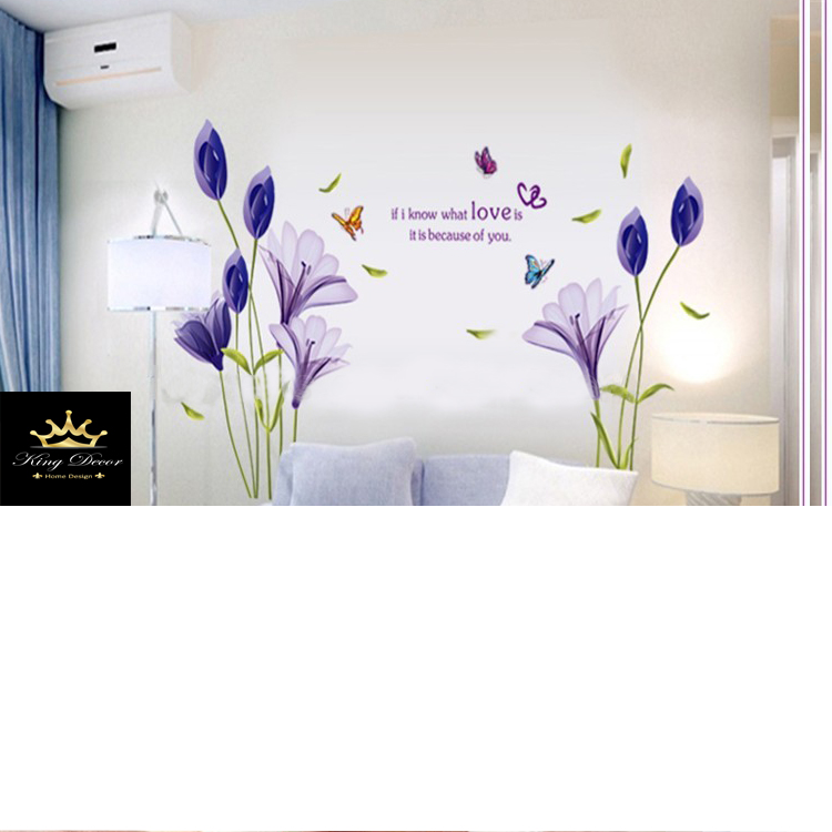 מדבקת קיר פרחים סגולים ופרפרים