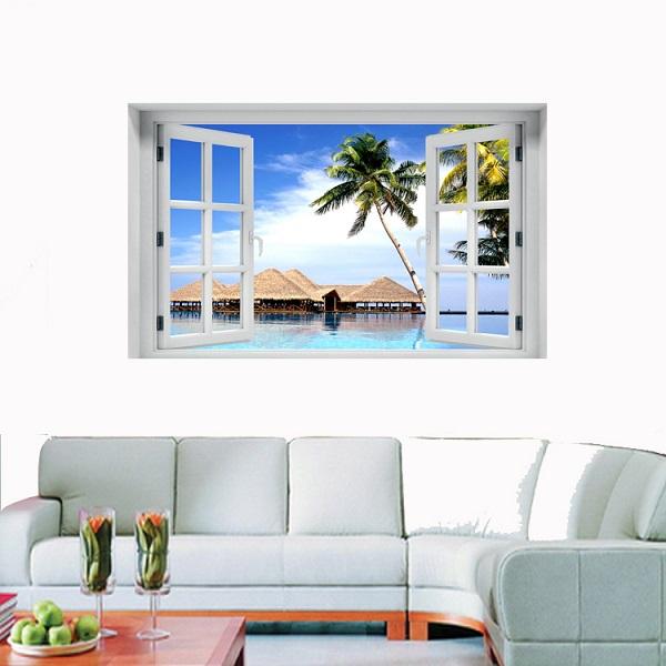 חלון תלת מימד חוף ים קסום