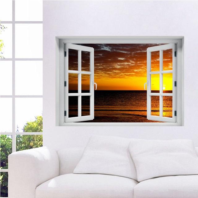 חלון תלת מימד נוף לשקיעה