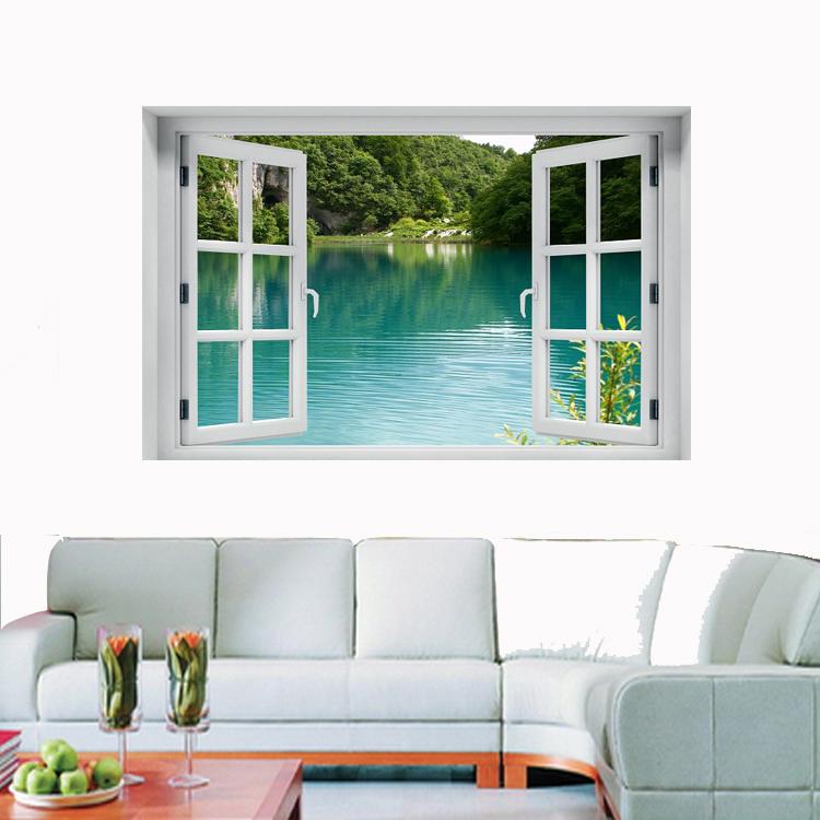 חלון תלת מימד נוף לאגם