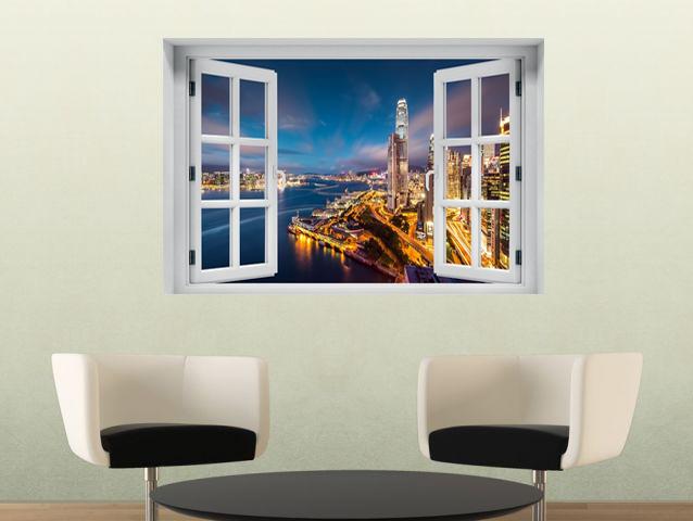 חלון תלת מימד נוף הונג קונג