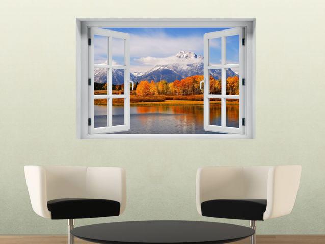 חלון תלת מימד הרים מושלגים