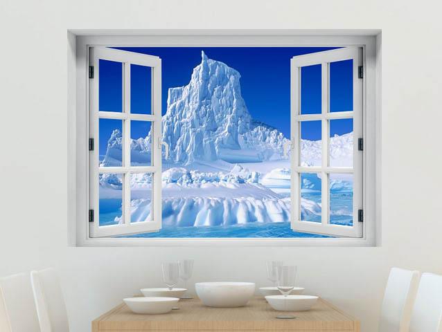 חלון תלת מימד קרחון מושלג