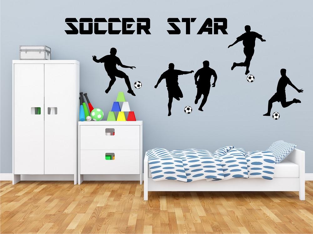 מדבקת קיר שחקני כדורגל במבחר צבעים