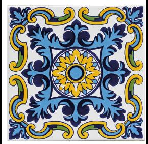 מדבקות קיר אריחים בגוונים כחול צהוב