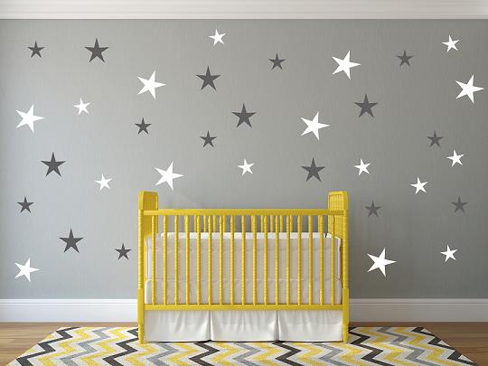 מדבקת קיר כוכבים בגדלים שונים וצבעים לבחירה