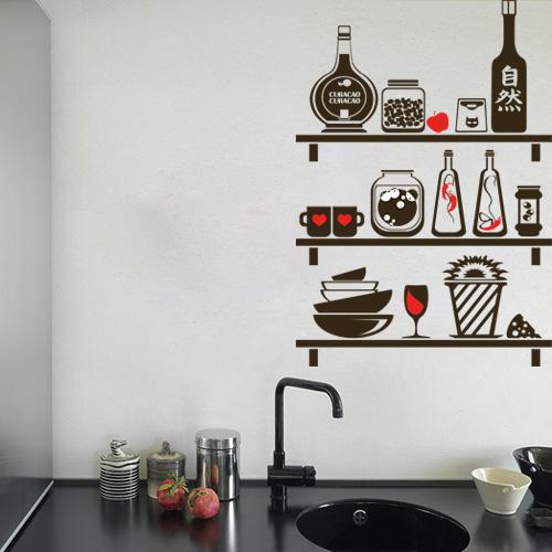 מדבקת קיר מדפים למטבח