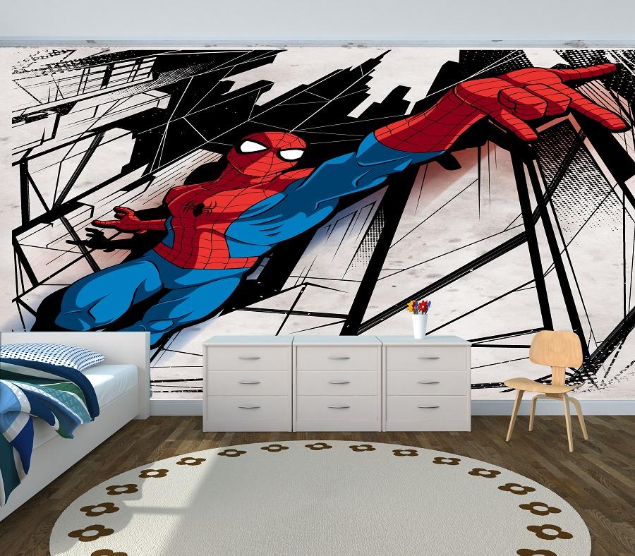 תמונת טפט ספיידרמן לחדר ילדים ברקע שחור לבן