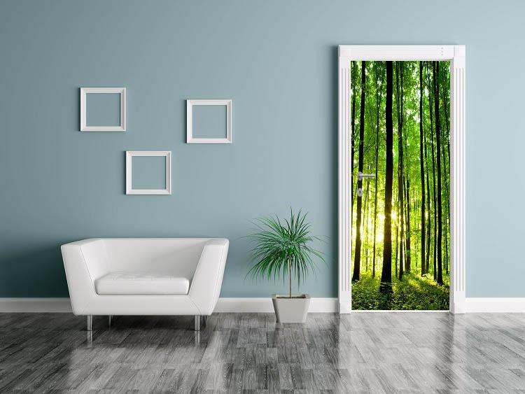 מדבקת טפט לדלת יער