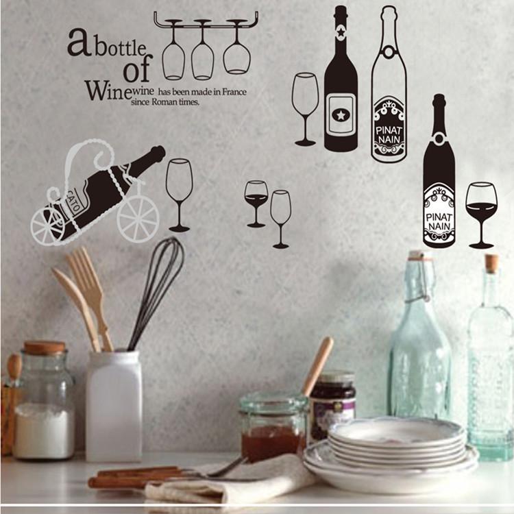 מדבקת קיר בקבוקי יין