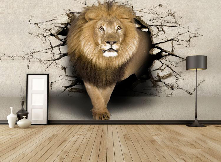 תמונת טפט אריה יוצא מהקיר תלת מימד