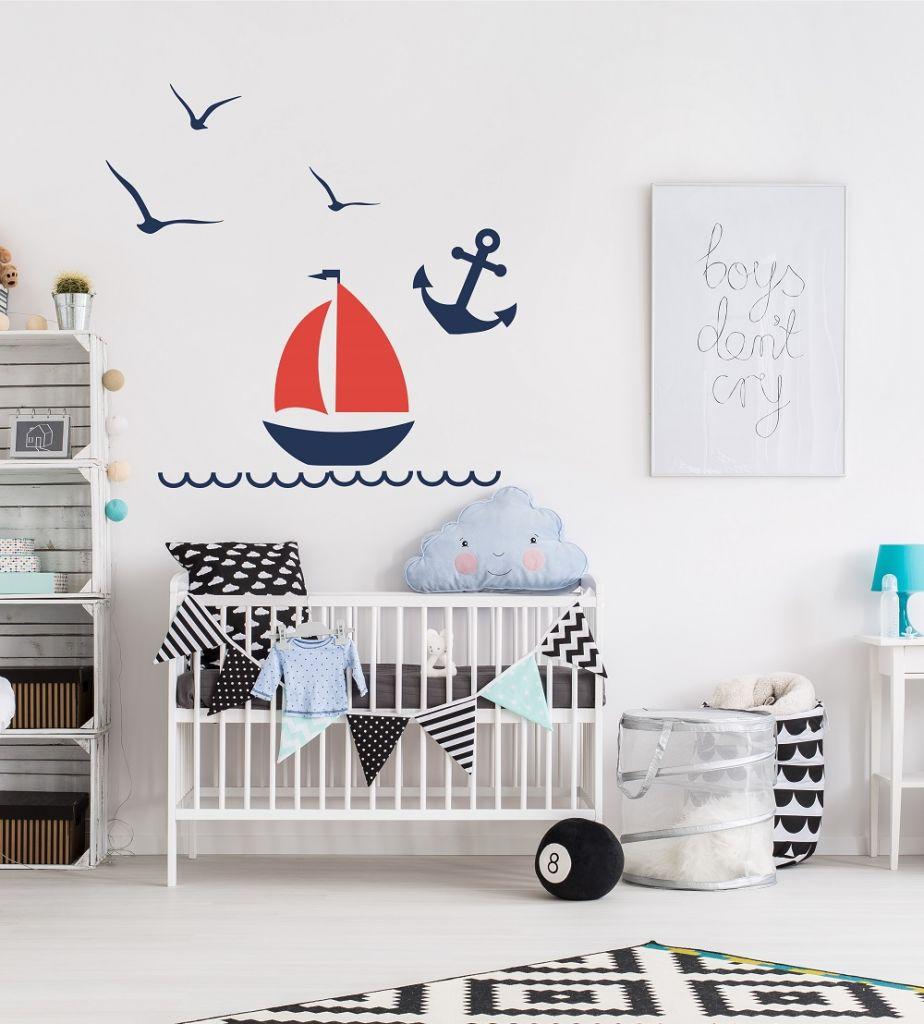 מדבקת קיר לחדרי ילדים סירה