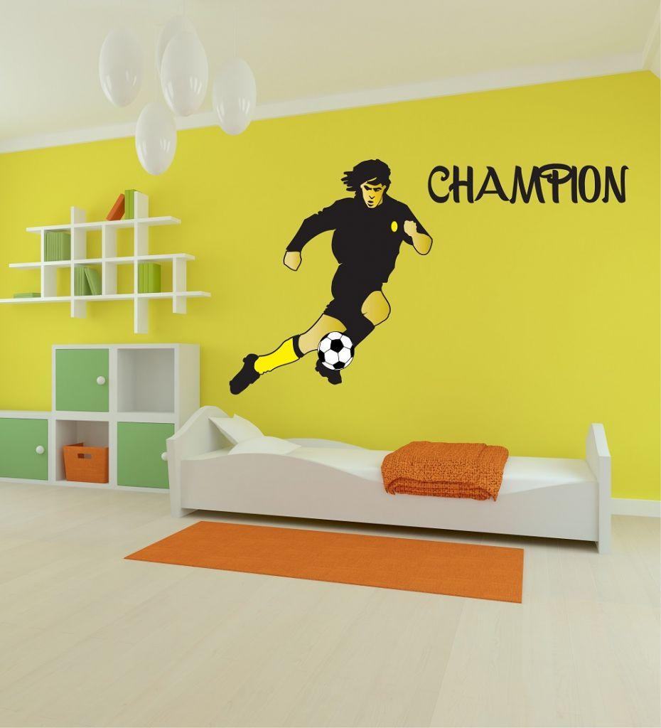 מדבקת קיר שחקן כדורגל לחדרי ילדים