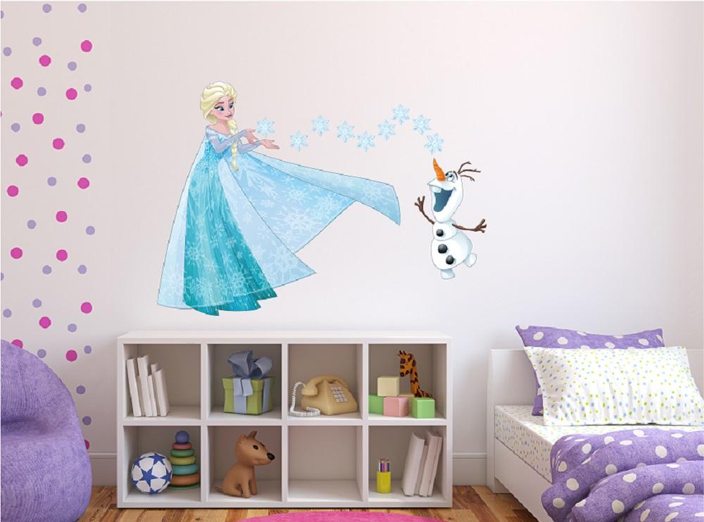 מדבקת קיר אלזה ואולף לחדרי ילדים