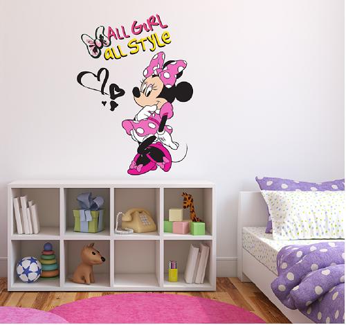 מדבקת קיר מיני מאוס לחדרי ילדים