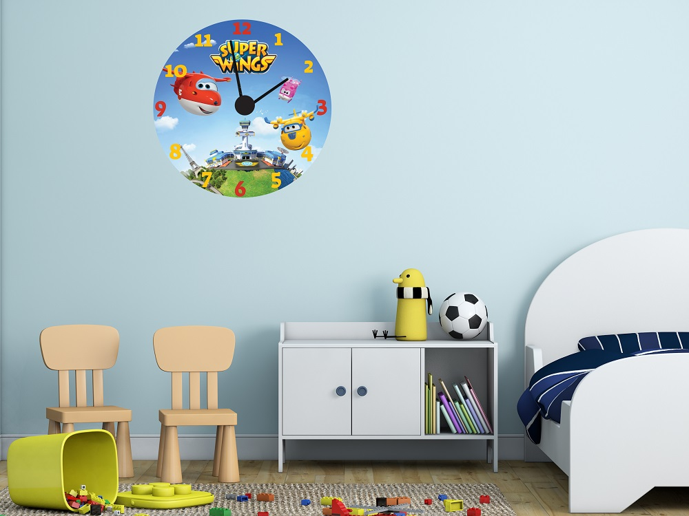 מדבקת קיר שעון  מטוסי על לחדרי ילדים