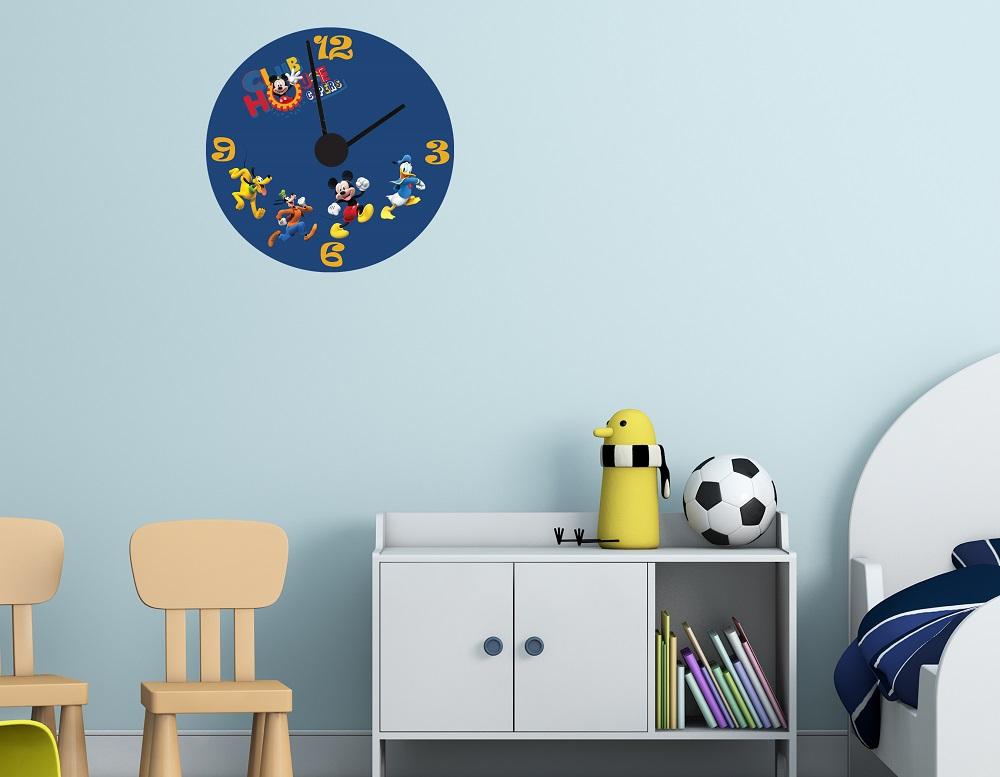 מדבקת קיר שעון  מיקי מאוס וחברים לחדרי ילדים