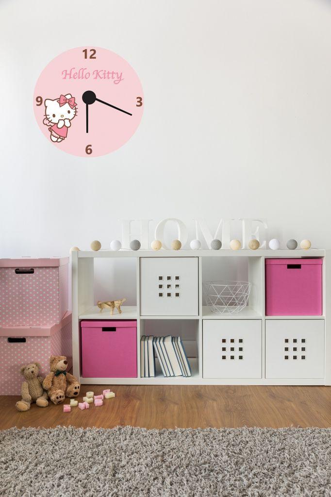 מדבקת קיר שעון הלו קיטי לחדרי ילדים