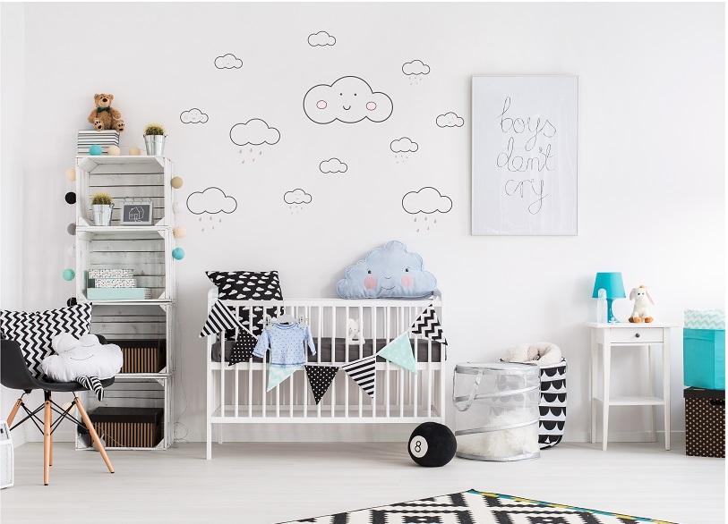 מדבקת קיר עננים לחדרי ילדים