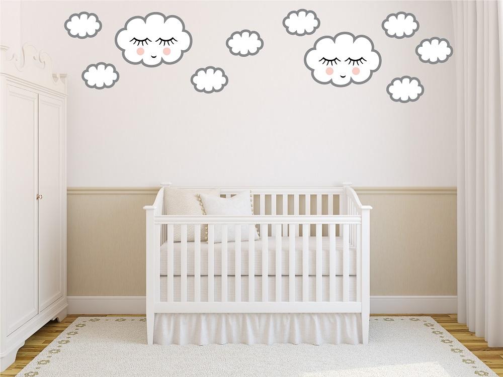 מדבקות קיר עננים לחדרי ילדים