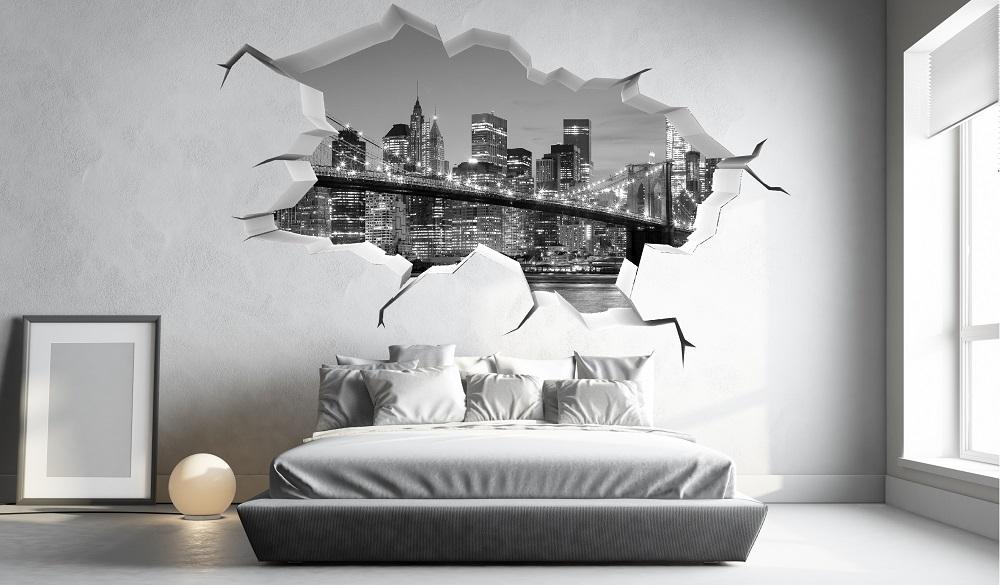 מדבקת קיר תלת מימד קיר שבור ניו יורק
