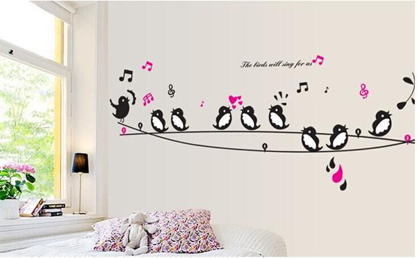 מדבקת קיר ציפורים מזמרות