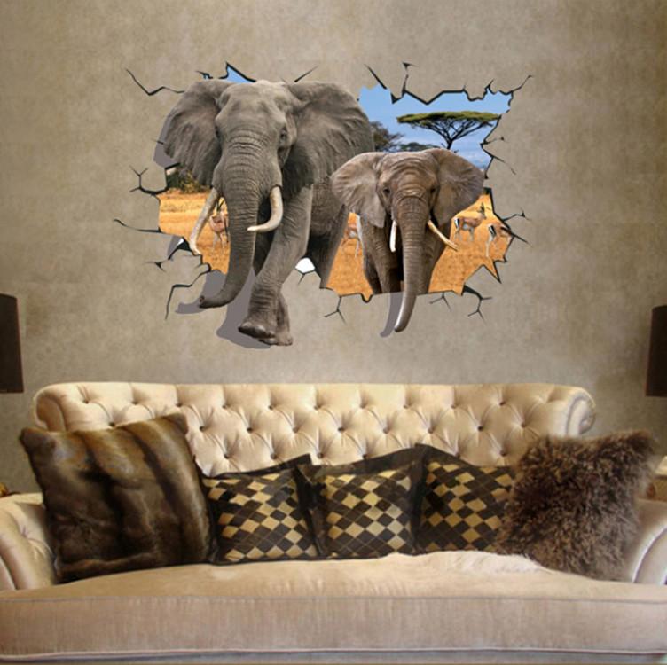 מדבקת קיר פילים תלת מימד