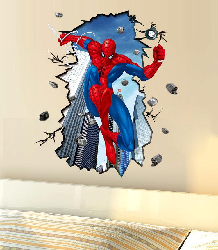 מדבקת קיר ספיידרמן לחדרי ילדים תלת מימד
