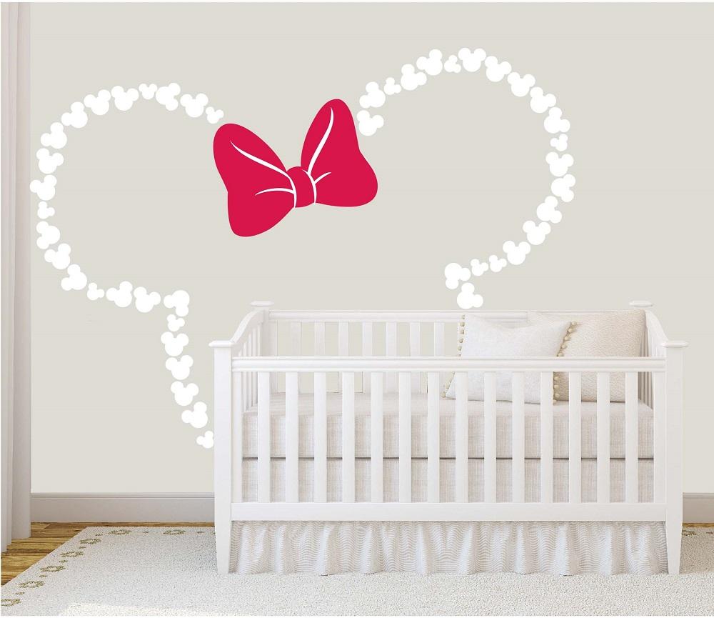 מדבקת קיר אוזניים של מיני מאוס לחדרי ילדים