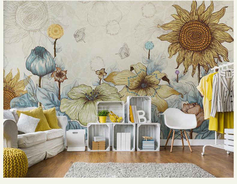 תמונת טפט קיר וינטאג' פרחיי חמניות